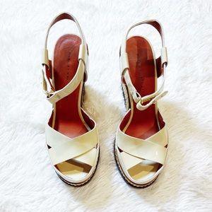 Marc Jacobs Patent Leather Wedges Peep Toe sz37